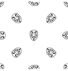 vendetta mask pattern seamless black vector image