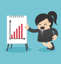 business woman present graph vector image