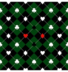 Card suits green black diamond background vector