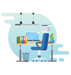 Concept of workplace with computer and office vector
