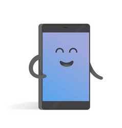 cute cartoon character phone with hands eyes and vector image