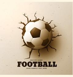 football hitting wall with cracks vector image
