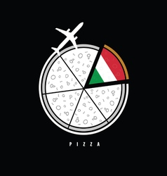 pizza with airplane vector image