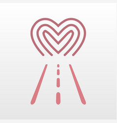 road way to heart logo icon vector image vector image