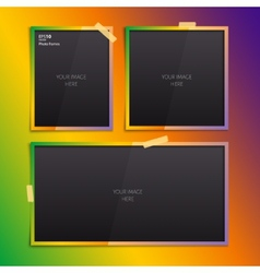 Set of empty photo frames on color background vector image