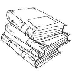 Stack of books doodle vector