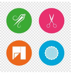 textile cloth piece icon scissors hairdresser vector image