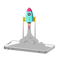 cellphone with rocket launch business startup vector image