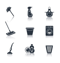 Cleaning icon set black vector image vector image