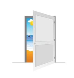 door with beach vector image