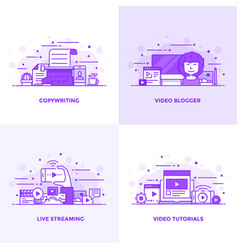 flat line purple designed concepts 2 vector image