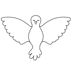 pigeon peace front view on dotted silhouette vector image vector image