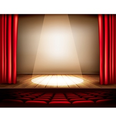 A theater stage with red curtain seats vector