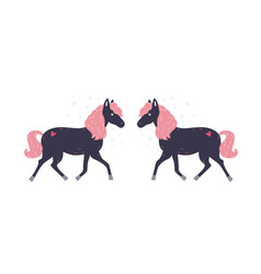 adorable little black horse with pink mane and its vector image