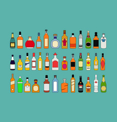 alcohol bottles line icons set flat design vector image