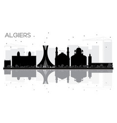 algiers city skyline black and white silhouette vector image