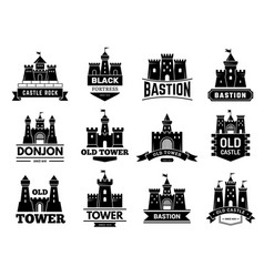 ancient castles logo medieval fortress vector image