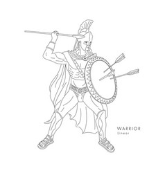 ancient warrior line in full armor vector image