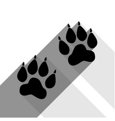 Animal tracks sign black icon with two vector