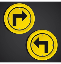 Arrows yellow circle sign over black background vector
