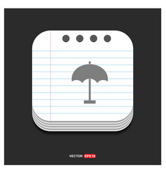 beach umbrella icon gray icon on notepad style vector image
