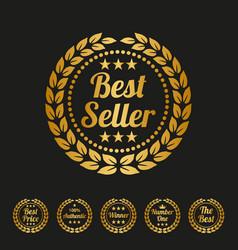 best seller label on black background vector image