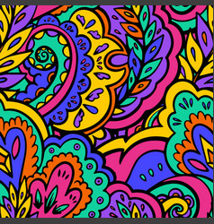 Bright seamless psychedelic pattern with plant and vector