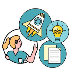 business idea with woman startup rocket documents vector image