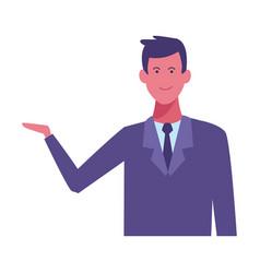businessman with hand open cartoon vector image
