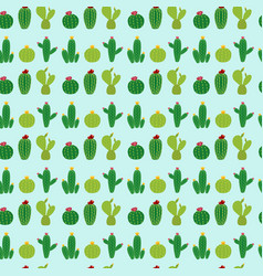cactus icon collection seamless pattern background vector image