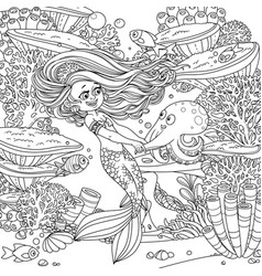 cartoon little mermaid girl dancing with an vector image