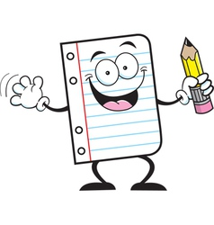 Cartoon Notebook Paper Holding a Pencil vector image
