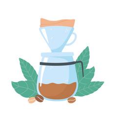 Coffee brewing methods drip maker coffee grains vector