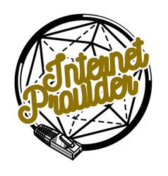 Color vintage internet provider emblem vector