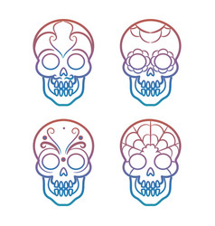 Colorful mexican skulls on white background vector