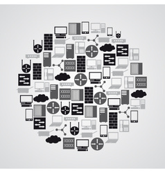 Computer network icons in circle eps10 vector