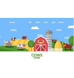 Cow farm website farmland animals in flat style vector