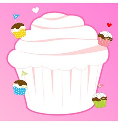 Cupcake for pink memo design element vector