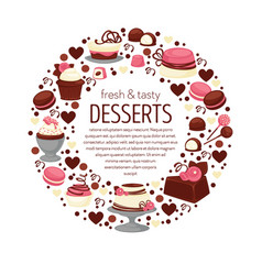 desserts banner or emblem cakes and cupcakes vector image