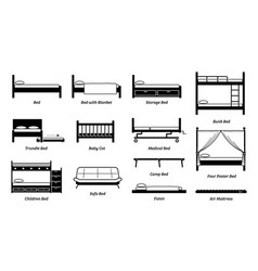 Different types bed design frame and styles vector