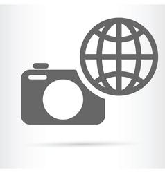 Digital camera earth icon vector