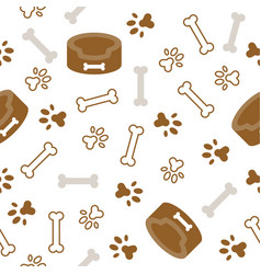 Dog seamless pattern theme bone paw foot print vector