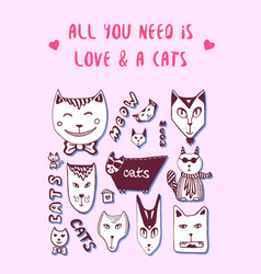 doodle cats love postcard valentine greeting card vector image