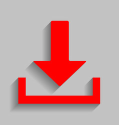 Download sign red icon with vector