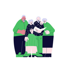 Elderly people choral singing together vector