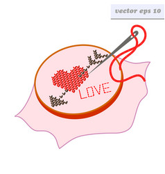 embroidered arrow heart vector image