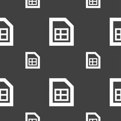 File document icon sign Seamless pattern on a gray vector image