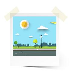 flat design empty park landscape in photo frame vector image