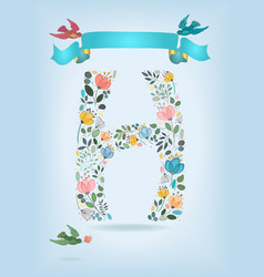 Floral letter h with blue ribbon and three doves vector