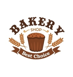 Fresh baked rye bread icon for bakery shop emblem vector image vector image